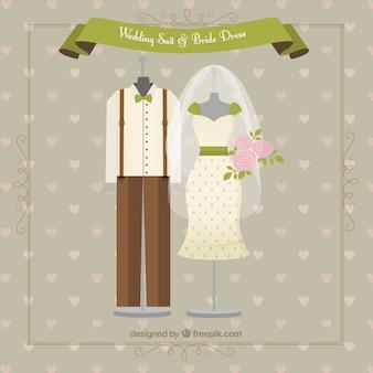 Terno do casamento indie e vestido de noiva