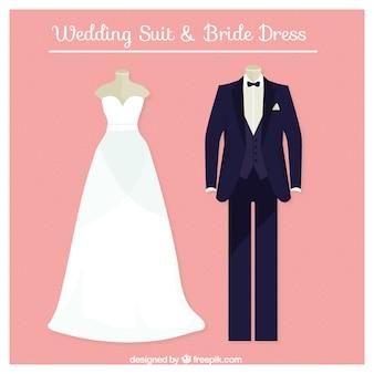 Terno do casamento perfeito e vestido de noiva