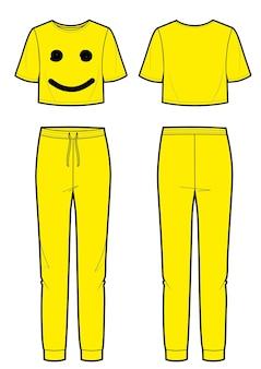 Terno esporte de mulher amarela com impressão de sorriso. vistas frontal e traseira. sorriso emoji