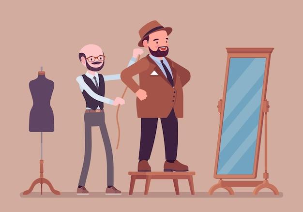Terno masculino com alfaiate. homem adulto redondo do tipo de corpo selecionando uma jaqueta formal no espelho, costureira fazendo sessão de alfinetes para tirar as medidas. ilustração em vetor estilo simples dos desenhos animados