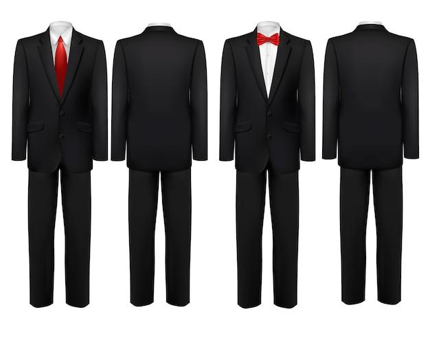 Terno preto e camisa branca com borboleta e gravata.
