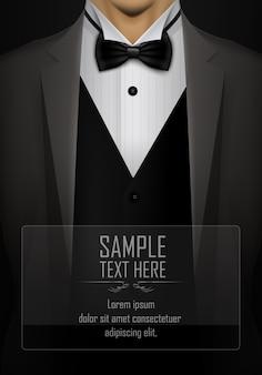 Terno preto e smoking com modelo de gravata borboleta