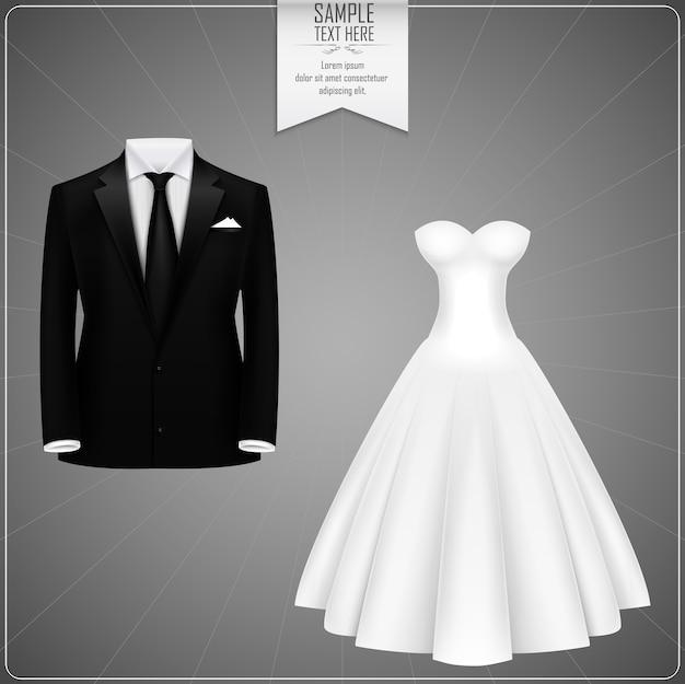 Ternos de noivo preto e vestido de noiva branco