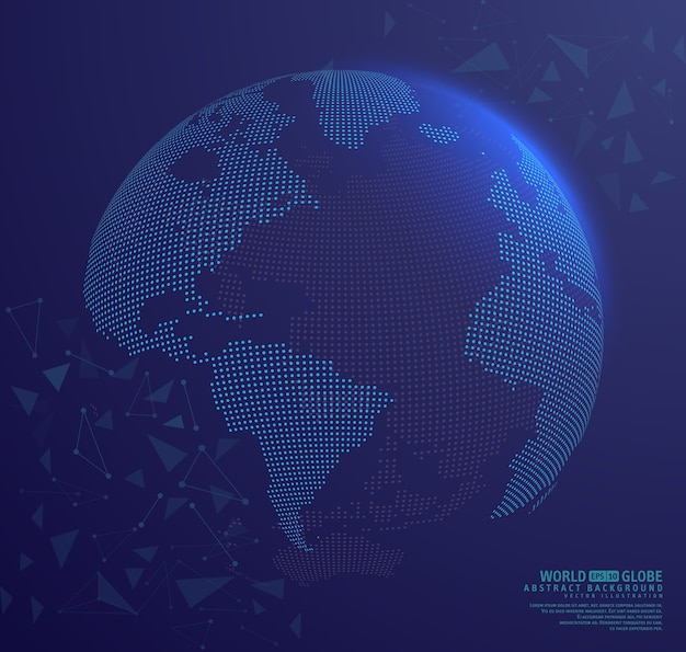 Terra abstrata do globo com pontos de conexão