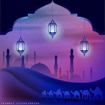 Terra árabe por andar em camelos à noite acompanhada de brilhos de estrelas