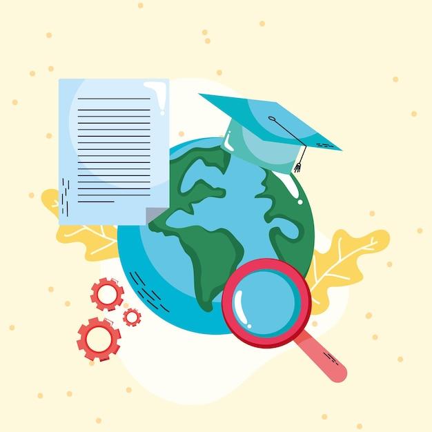 Terra com conceito de aprendizagem educacional