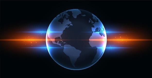 Terra com ilustração de luzes brilhantes azuis e laranja