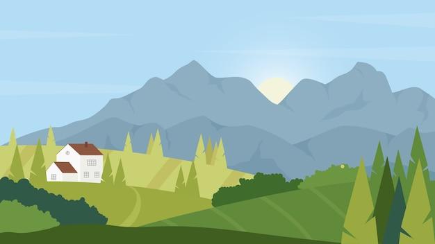 Terra de fazenda verde no verão, paisagem natural dos desenhos animados, vegetação fresca de verão ou primavera, casa dos fazendeiros