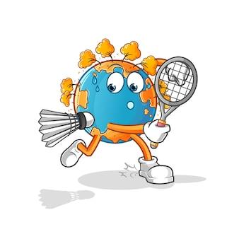 Terra de outono jogando ilustração de badminton. mascote mascote dos desenhos animados