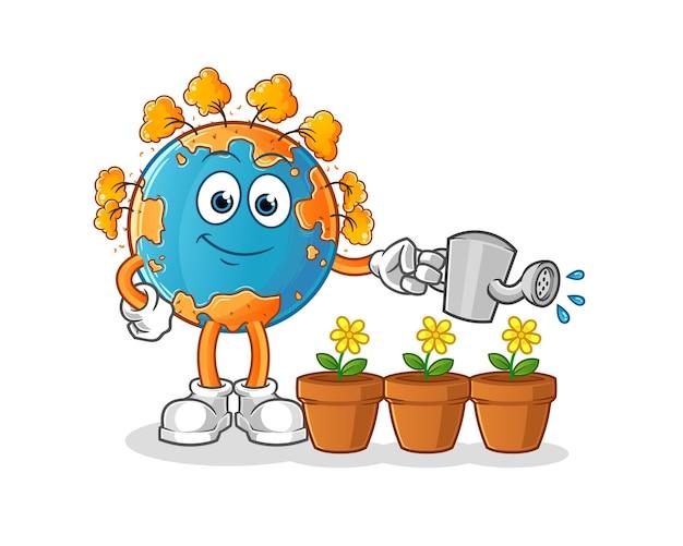Terra de outono regando o mascote das flores. desenho animado