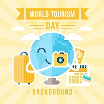 Terra de sorriso com uma câmera de celebrar o dia do turismo