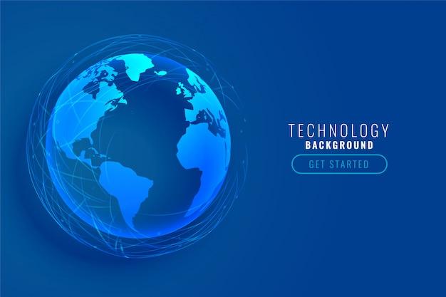 Terra de tecnologia com design de linhas de rede global