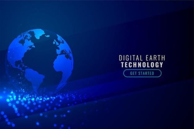 Terra digital com fundo de partículas de tecnologia