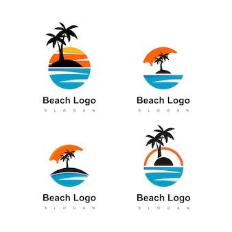 Terra do círculo do logotipo da praia com ícone da palmeira para o agente de viagens