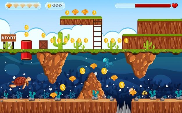 Terra do jogo de aventura e cena subaquática