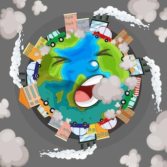 Terra doente do conceito de poluição