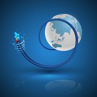 Terra e conceito de cabo de fibra óptica para a tecnologia de comunicação.