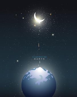 Terra e lua crescente abstrato