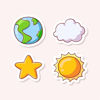 Terra e nuvem fofas com estrela e sol isolados no branco