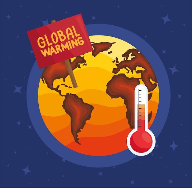 Terra e termômetro, ilustração do aquecimento global