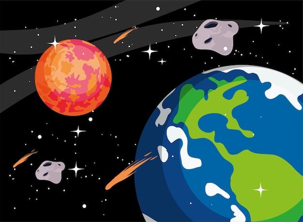 Terra estraga planetas e estrelas cadentes no espaço do universo