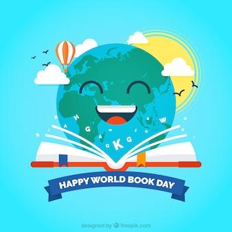 Terra feliz lendo um fundo livro