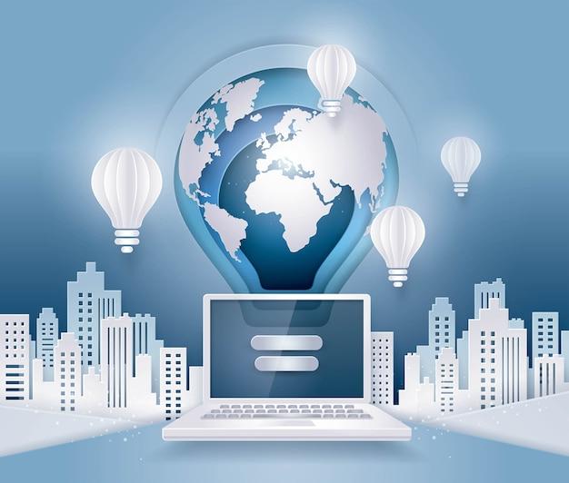 Terra flutuando acima computador portátil, conceito de negócio de comunicação global de internet