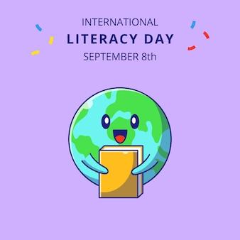 Terra fofa abraçando uma ilustração dos desenhos animados do livro. personagens de desenhos animados de mascote de educação.