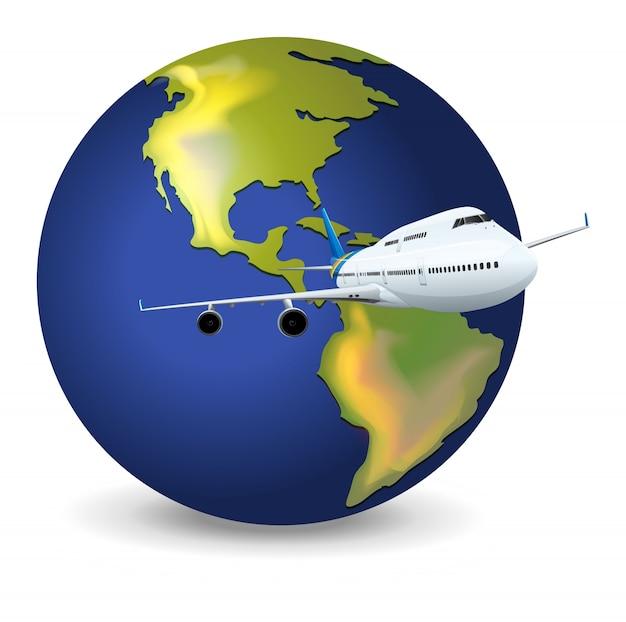Terra globo e avião