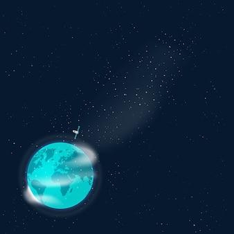 Terra no espaço sideral com modelo vazio em branco de satélite