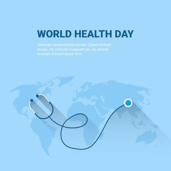 Terra planeta estetoscópio saúde mundial dia global férias banner com cópia espaço