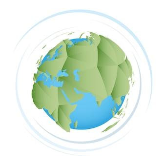 Terra poligonal verde, ícone do vetor do planeta terra.