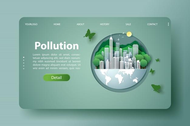 Terra verde da cidade de ecologia, modelo de informação do ambiente para poluição webdesign.