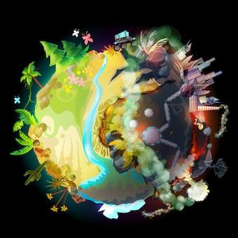 Terra verde, evolução, progresso tecnológico e destruição ambiental