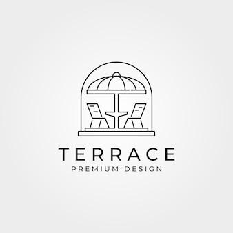 Terraço café varanda logotipo linha arte símbolo ilustração