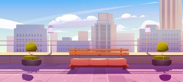 Terraço na cobertura com banco com vista da cidade