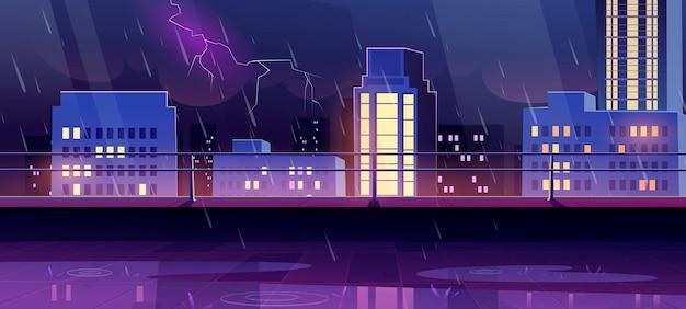 Terraço na cobertura durante tempestade noturna com vista da cidade
