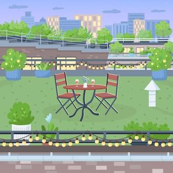 Terraço para um jantar romântico plano. móveis no quintal do telhado. mesa e cadeiras para jantar. paisagem 2d dos desenhos animados do jardim urbano com paisagem urbana no fundo