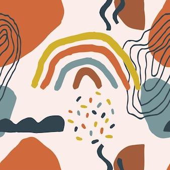 Terracota cor padrão sem emenda pintura moderna abstrata da moda estilo escandinavo. poster de abstração minimalismo contemporâneo