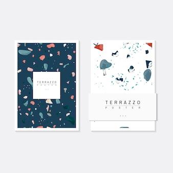 Terrazzo colorido padrão cartazes vector set