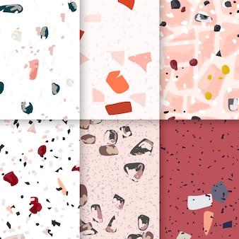 Terrazzo colorido padrão sem emenda cartazes vector set
