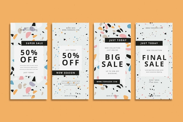 Terrazzo style sale instagram stories pack