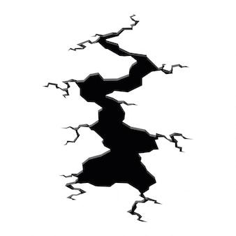 Terremoto de crack. furo no chão com rachaduras e rachaduras de destruição da terra isolado dos desenhos animados. superfície de danos quebra isolada no branco