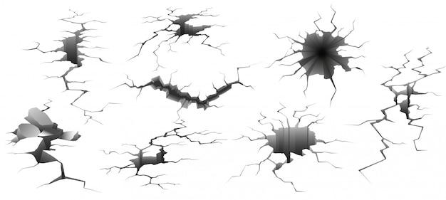 Terremoto de crack. parede arruinada, buraco no chão e destruição rachaduras conjunto de ilustração