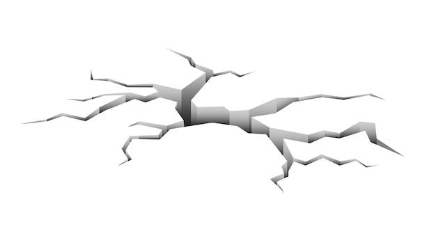 Terremoto, solo rachado isolado no fundo branco. ilustração vetorial