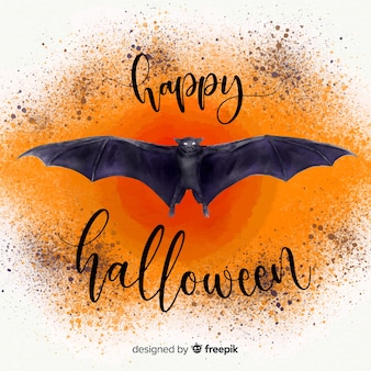 Terrific aquarela morcego halloween