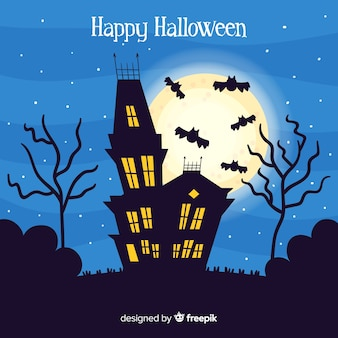 Terrific halloween assombrado casa com design plano