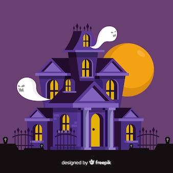 Terrific halloween assombrado casa com design plano
