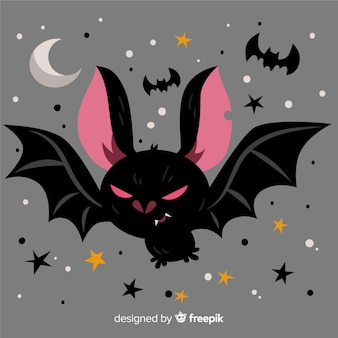 Terrific halloween morcego com design plano