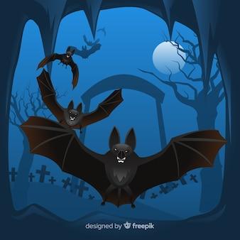 Terrific halloween morcego com design plano
